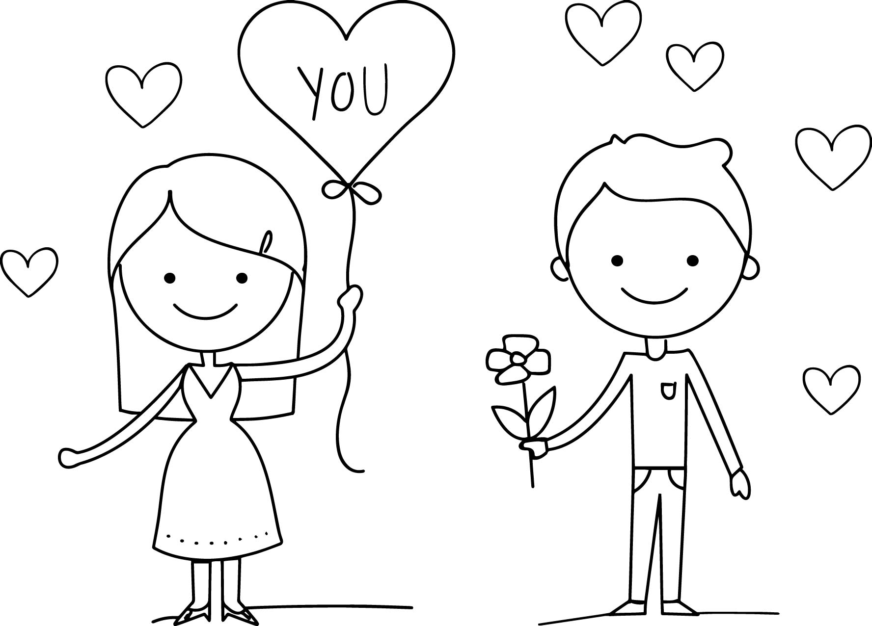 Love Couple Valentine Day Coloring Page Wecoloringpage