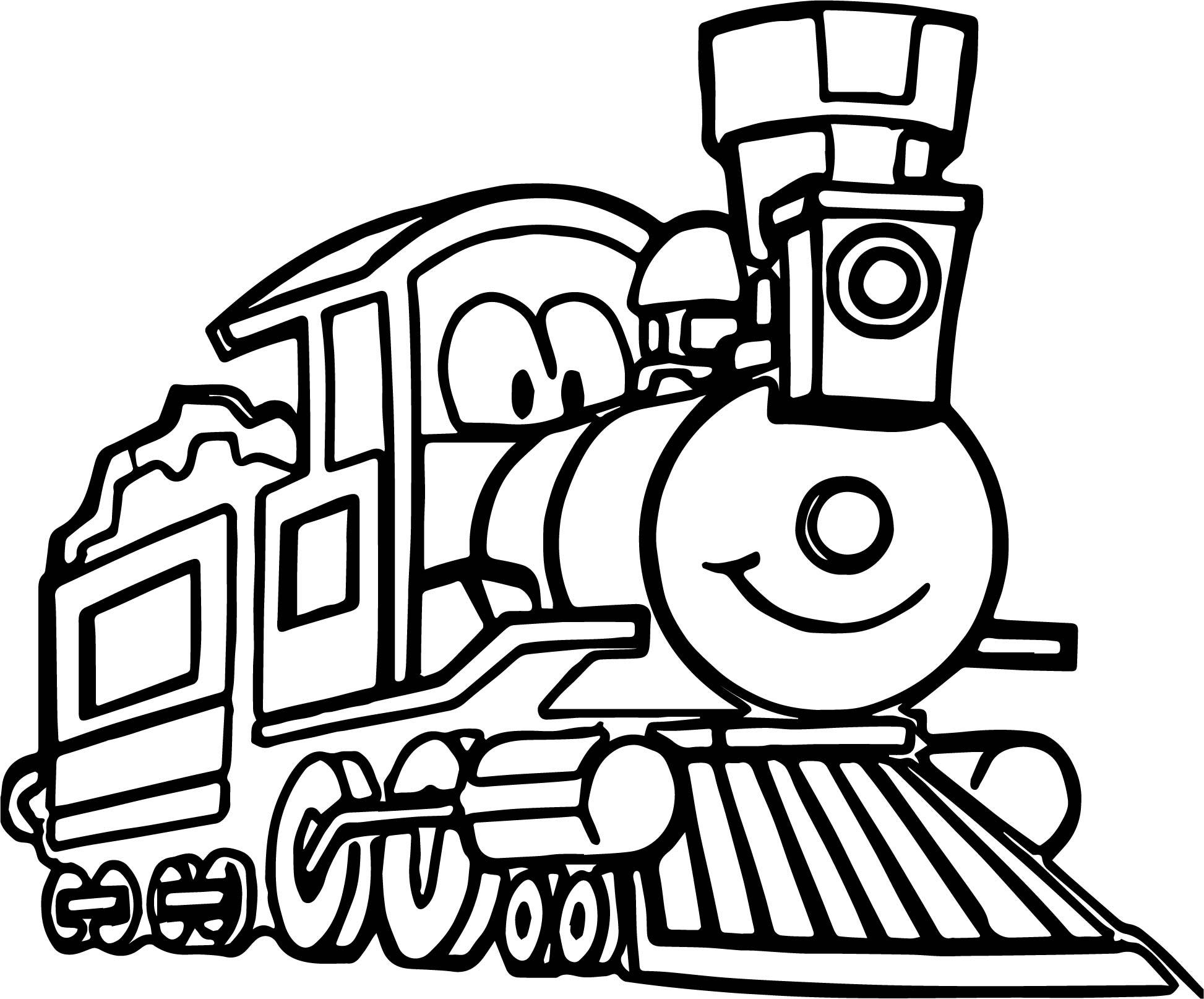 Cute Cartoon Train Coloring Page Wecoloringpage
