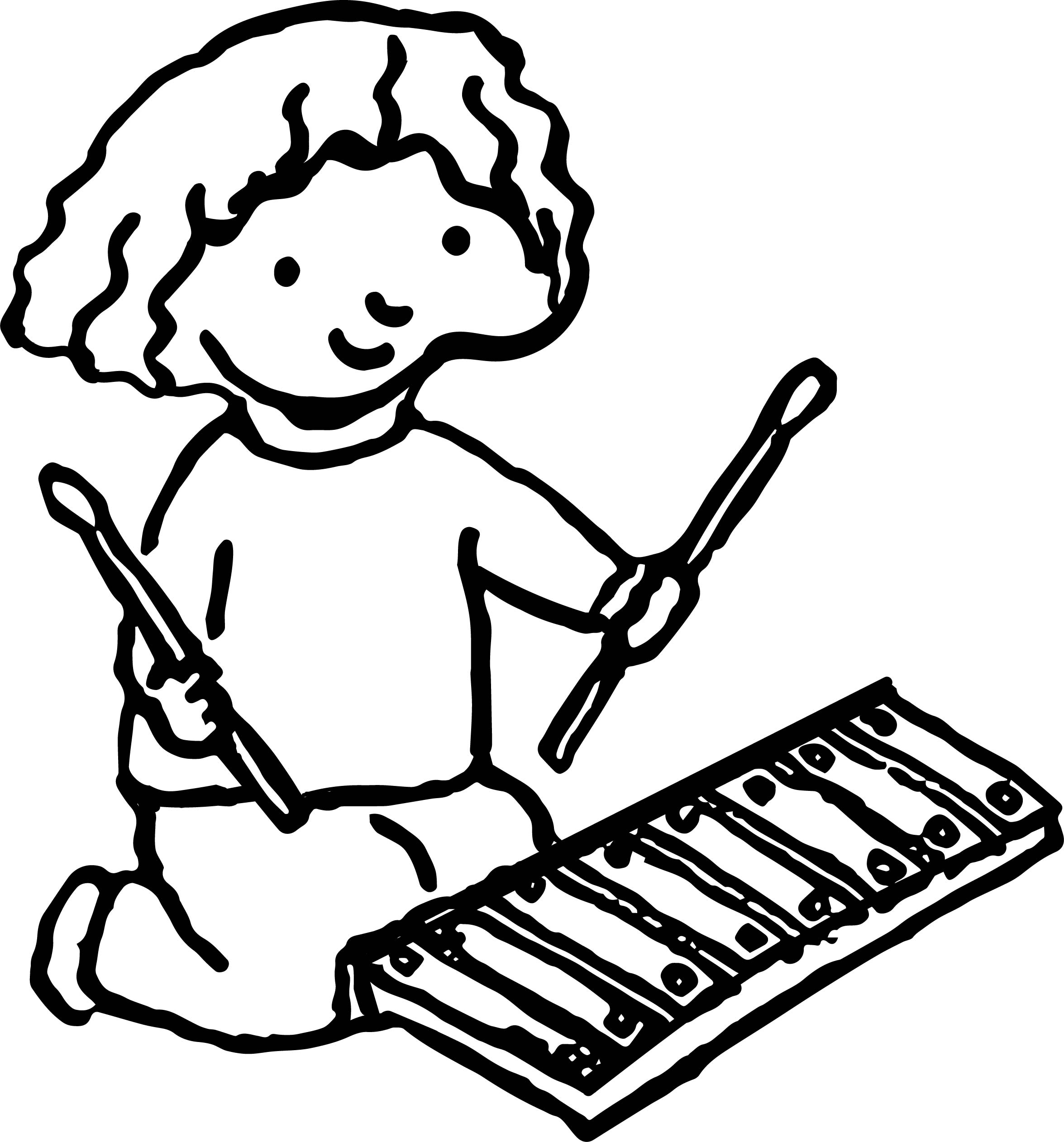 Girl With Xylophone Activity Coloring Page Wecoloringpage