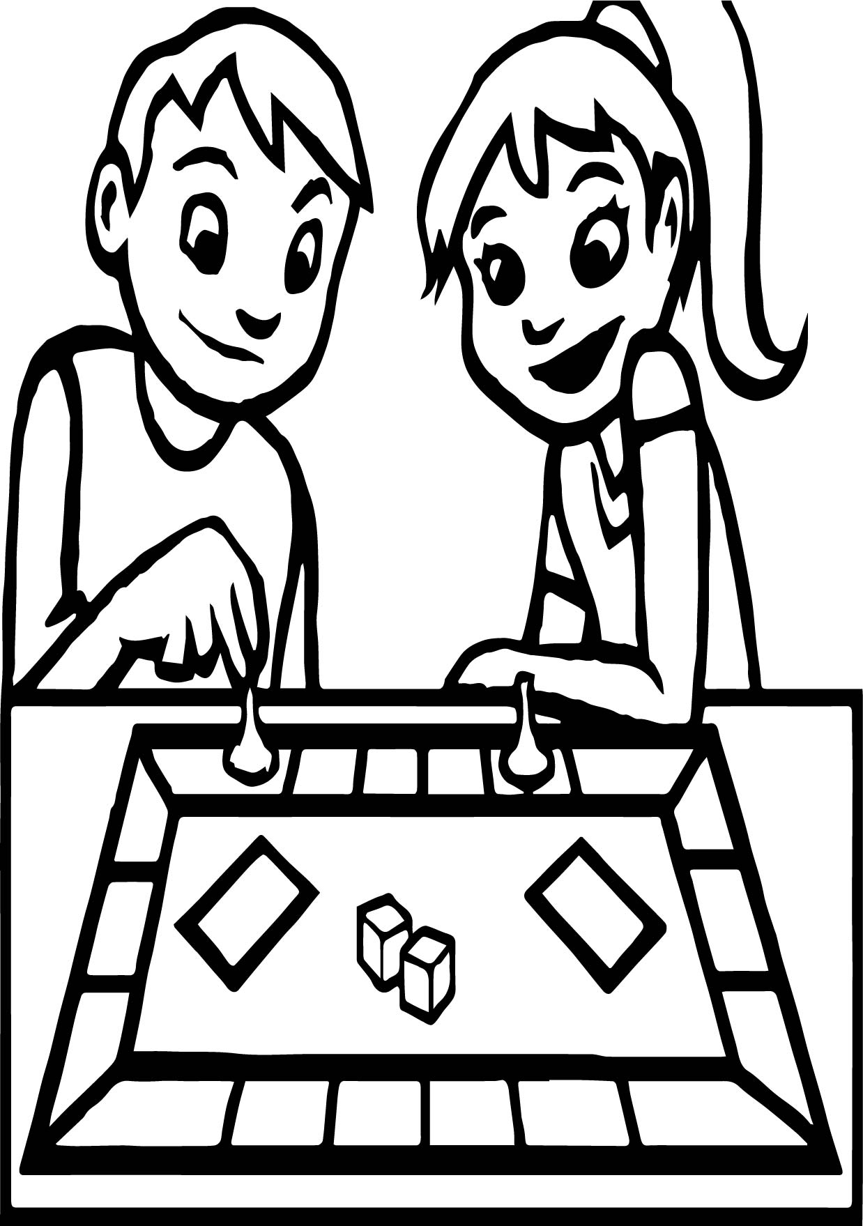Board Game Boy And Girl Coloring Page Wecoloringpage