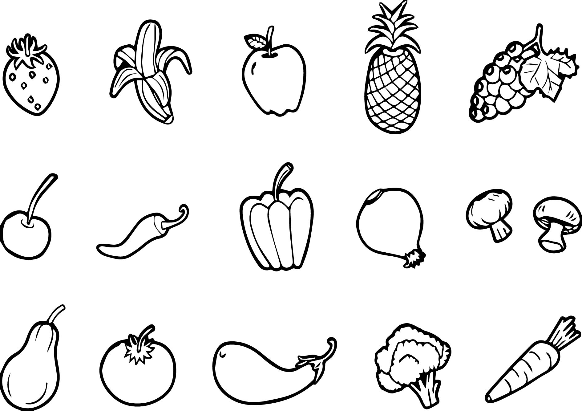 Fruits And Vegetables Set Free Coloring Page Wecoloringpage