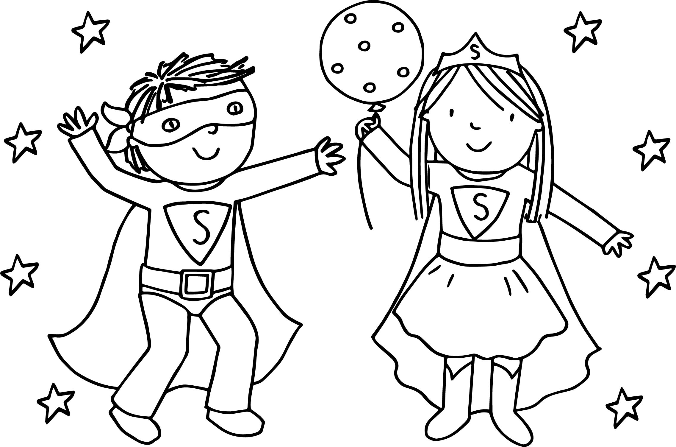 Kids Girl Boy Superman Playing Superheroes Super Hero Coloring
