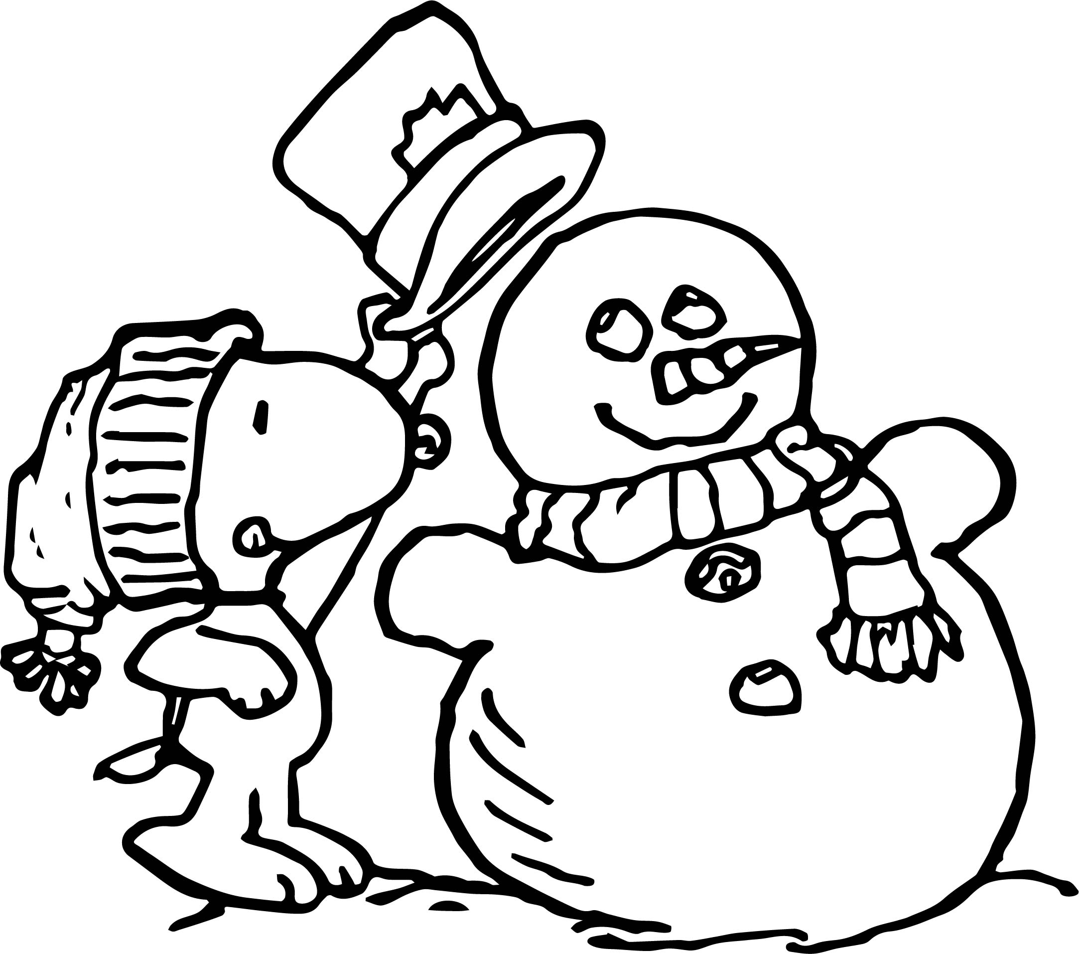 Peanuts Snoopy Winter Coloring Page Wecoloringpage
