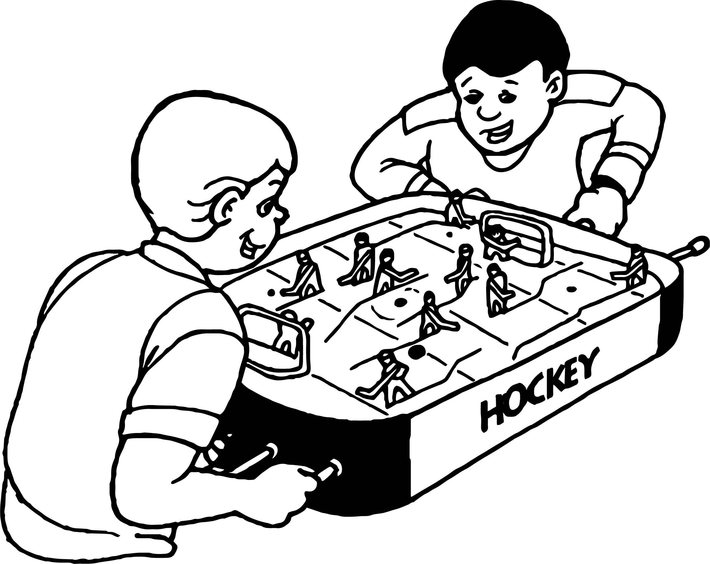 Boys Play Hockey Board Coloring Page Wecoloringpage