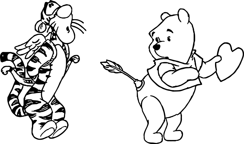 Pooh Tigger Cupid Wrong Target Arrow Coloring Page