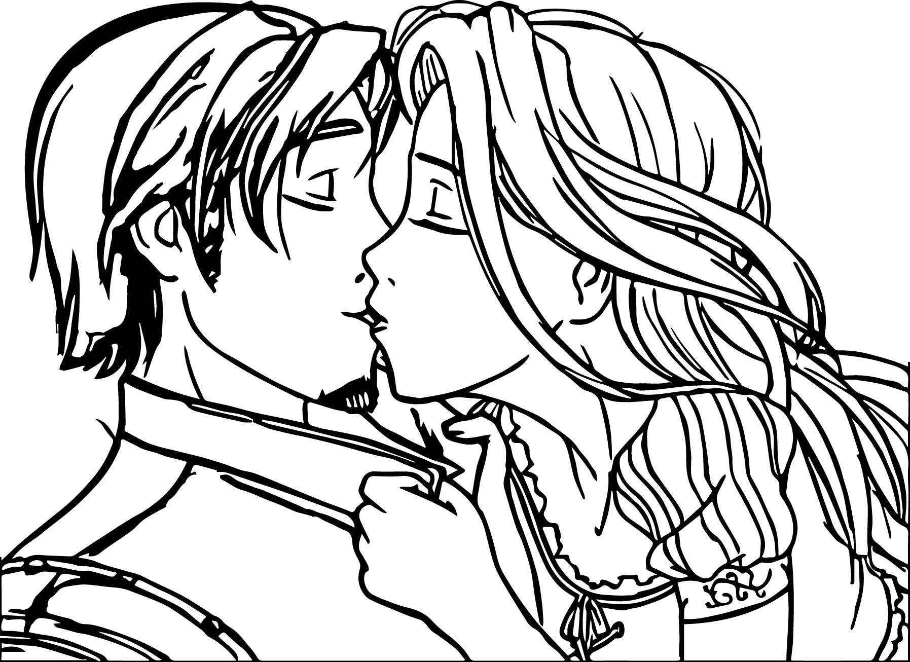 Rapunzel And Flynn Couple Kiss Coloring Page Wecoloringpage