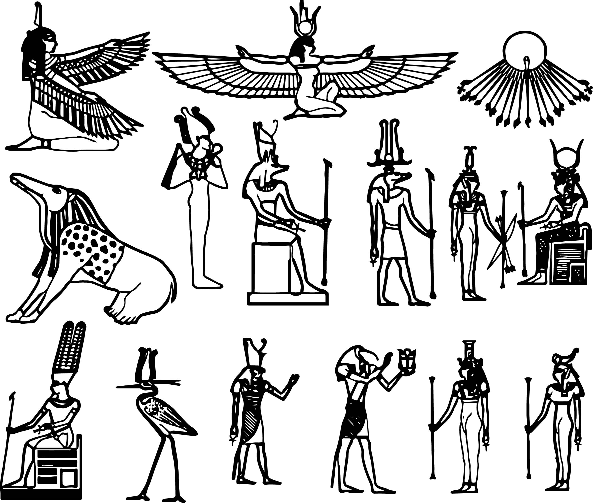 Ancient Egypt Symbol Set Coloring Page Wecoloringpage