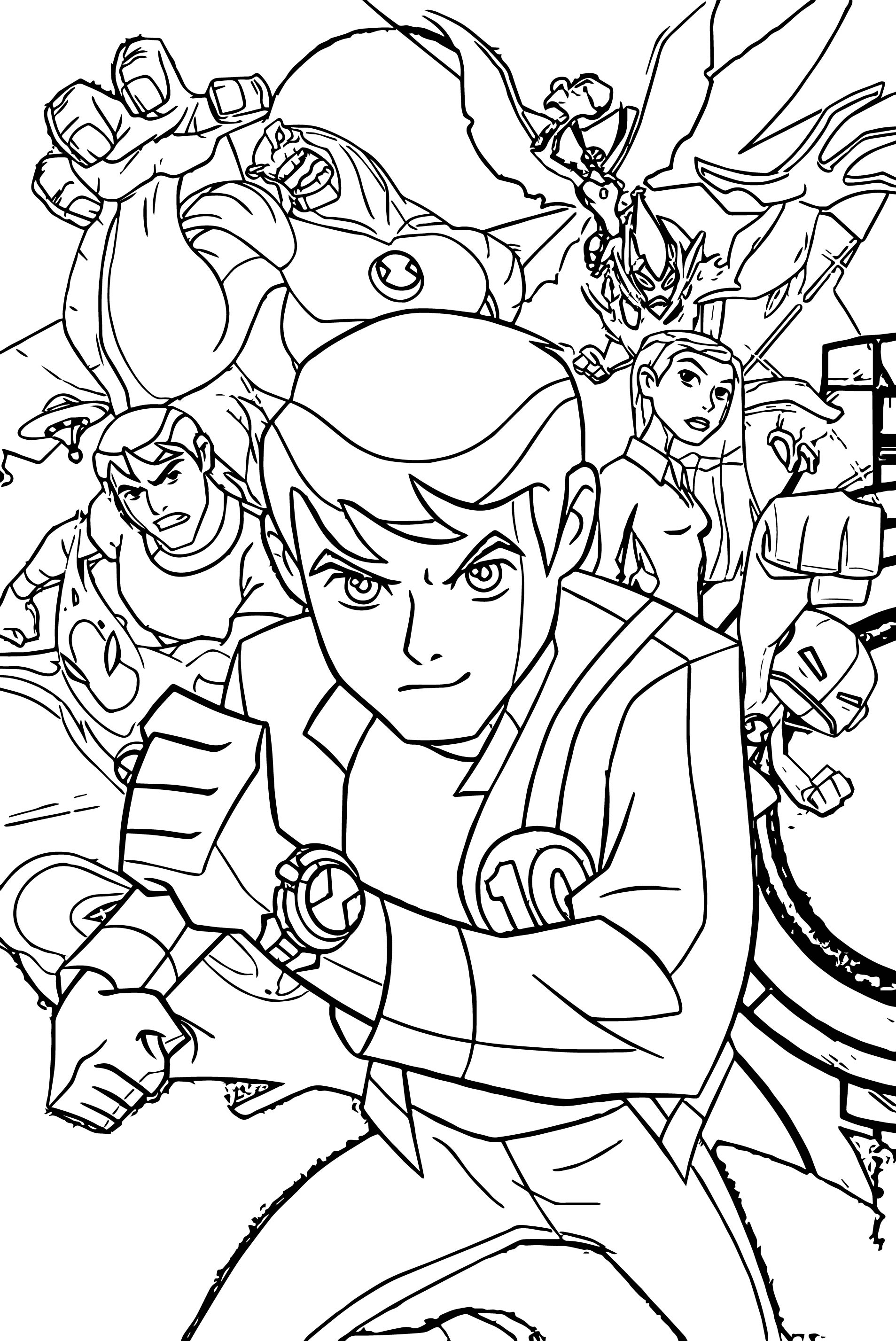 Free Coloring Pages Download Ben 10 Interesting Games Of