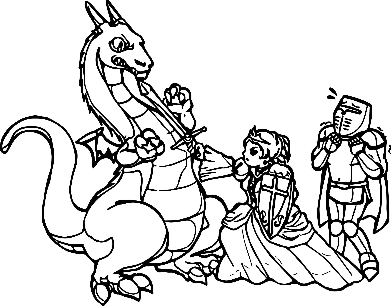 Dragon Princess Warrior Coloring Page Wecoloringpage