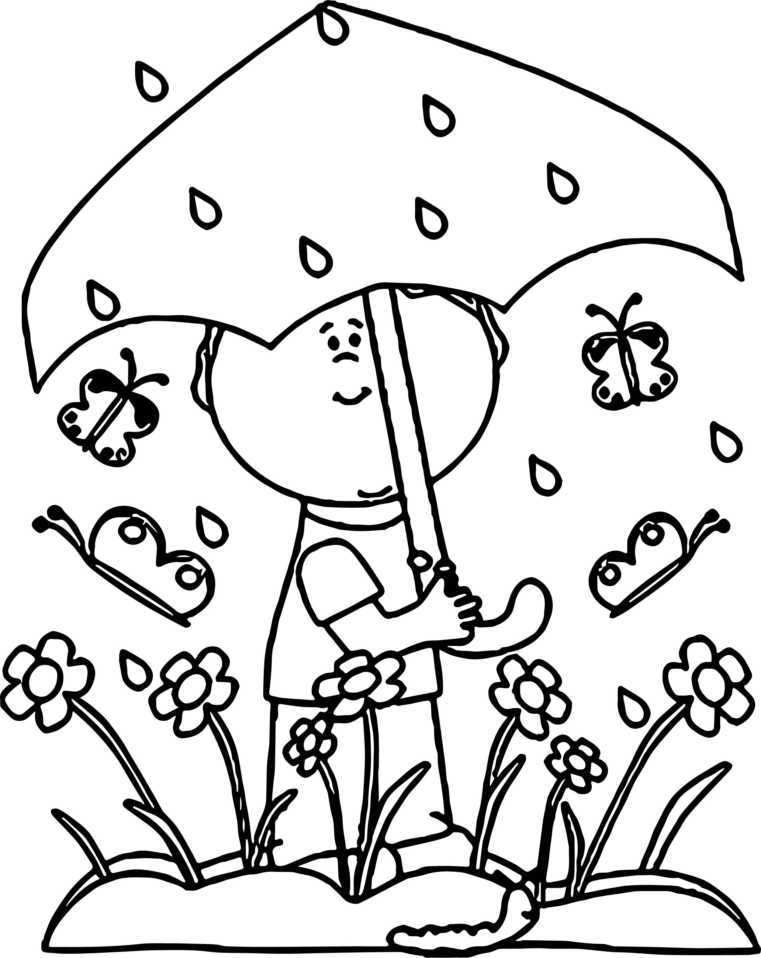 Spring Butterfly Flower Umbrella Rain Coloring Page Wecoloringpage