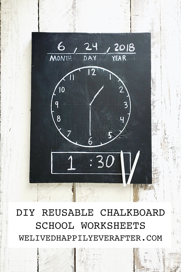 DIY SCHOOL REUSABLE CHALKBOARD WORKSHEETS homeschool summer school     DIY SCHOOL REUSABLE CHALKBOARD WORKSHEETS homeschool summer school teacher  ideas first day of school chalkboard clock chalkboard abc counting numbers