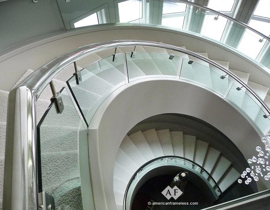 American Frameless Glass Stair Railings 1 800 606 1776 | Curved Glass Stair Railing | Residential Glass | Commercial Glass | Band Glass | Walnut | Frameless Glass