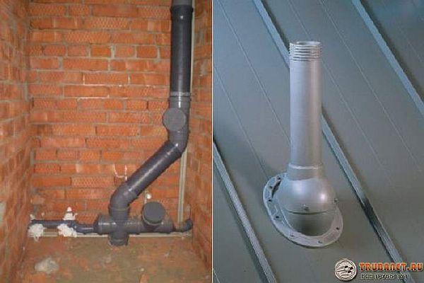 Ảnh - Kết nối năng suất nước thải quạt và đầu ra của nó thông qua mái nhà trong một ngôi nhà riêng