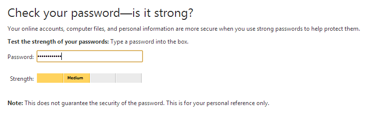 Password strength checker