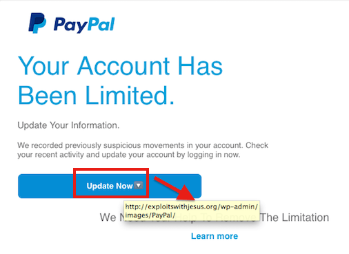 PayPal Phishing email - Hovering instead of clicking reveals a web address that is clearly not PayPal.