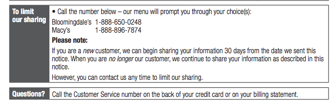"Notice you can skip right down to the clearly marked ""Limit our Sharing"" portion of the privacy notice."