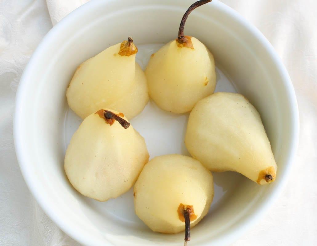 Poire Belle Helene Poached pears