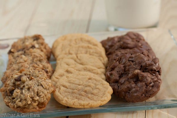 3 gluten free cookie recipes are in this post. Classic peanut butter, chocolate brownie clusters, and caramel oatmeal chocolate chip. Get the recipes here!