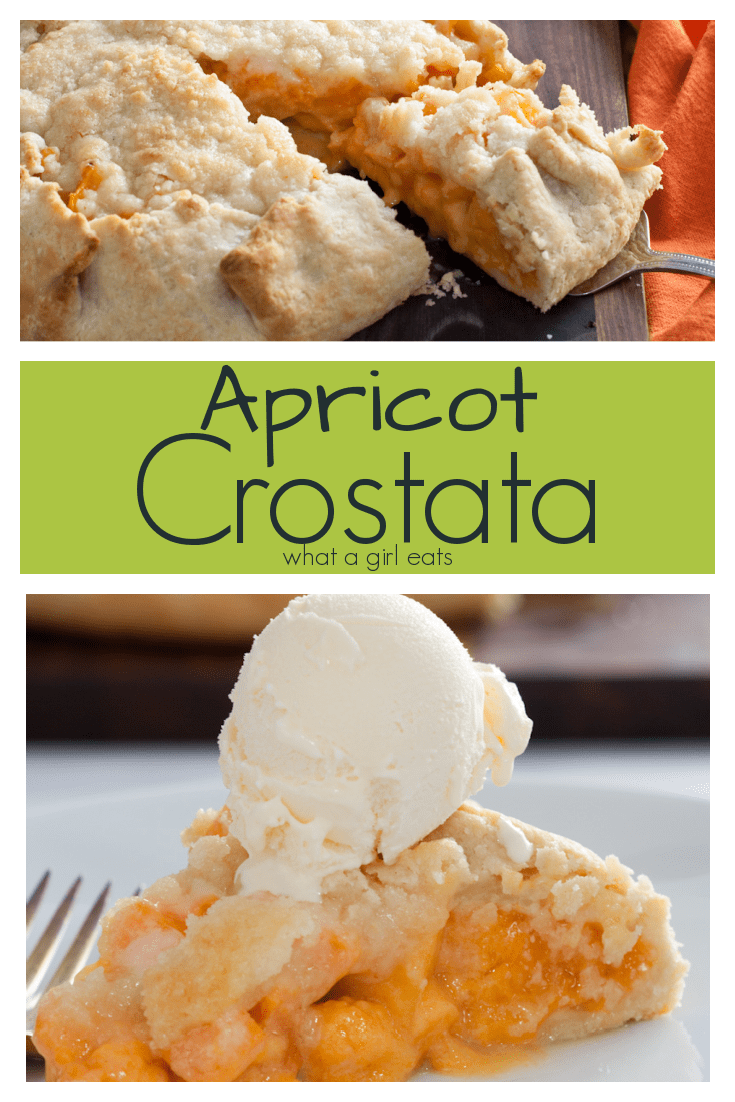 This crostata is an easy, free form rustic pie, filled with fresh apricots and a crumble topping. Serve warm, with ice cream.