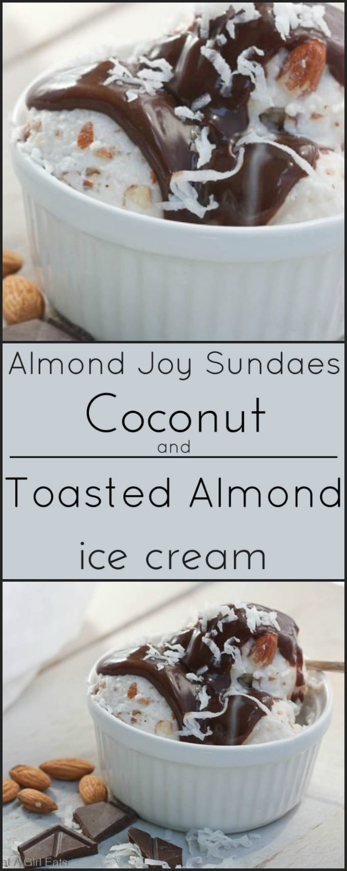Coconut and Toasted Almond ice cream! Like an Almond Joy, but cold and creamy! Gluten free!