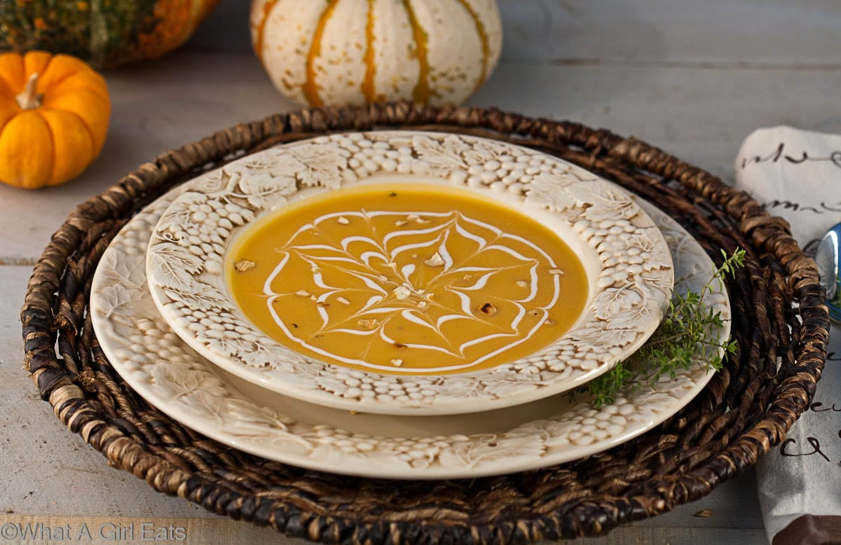 Butternut Squash Soup with Toasted Cashews | whatagirleats.com