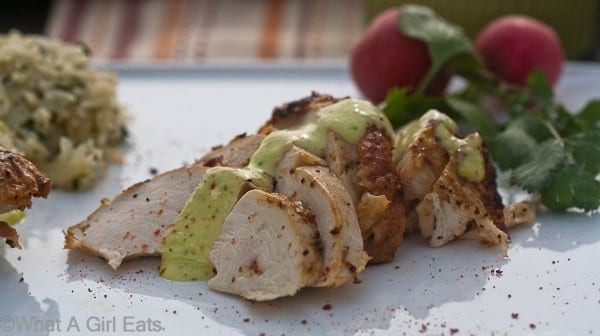 Peruvian garlic-lime roasted chicken with sauce