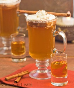 Hot apple pie drink, cider, spices with calvados