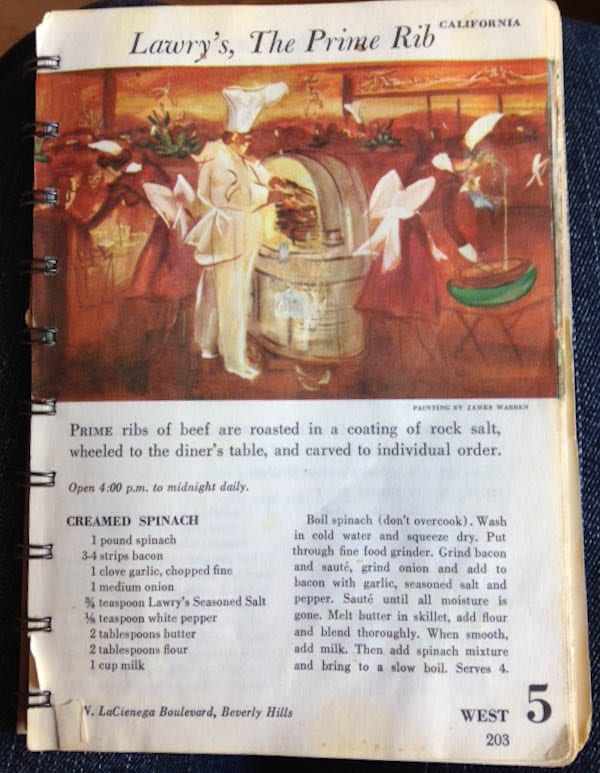 Mom's original cookbook for lawrys creamed spinach