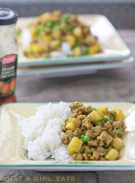 Indian Curried beef over basmati rice.