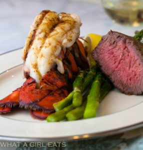 Easy broiled lobster tail and steak.