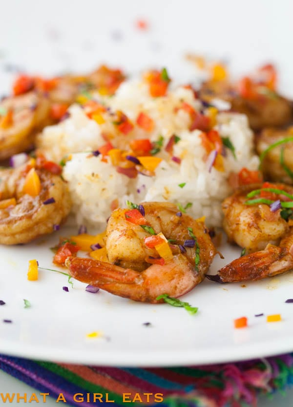 spicy shrimp with sautéed vegetables…it's a party on a plate!