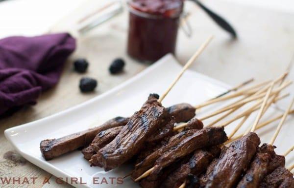 Spicy Flank steak skewers with Blackberry BBQ Sauce.