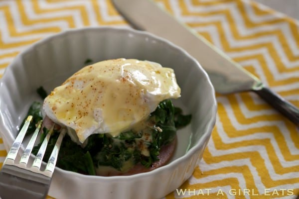 Eggs Florentine is an elegant, yet easy breakfast option, consisting of poached eggs, spinach, and Canadian bacon, drizzled with creamy Hollandaise sauce. Omit the English muffin for a low carb, paleo, and gluten free breakfast.