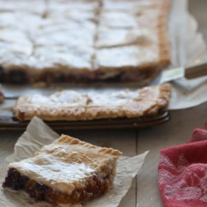 Apricot-cherry slab pie is a portable dessert, with a buttery, flaky crust and fresh spring fruit filling. It's perfect picnic food.
