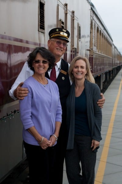 My sister in law, Julie, (left) and me, with our charming engineer for the Napa Valley Wine Train.