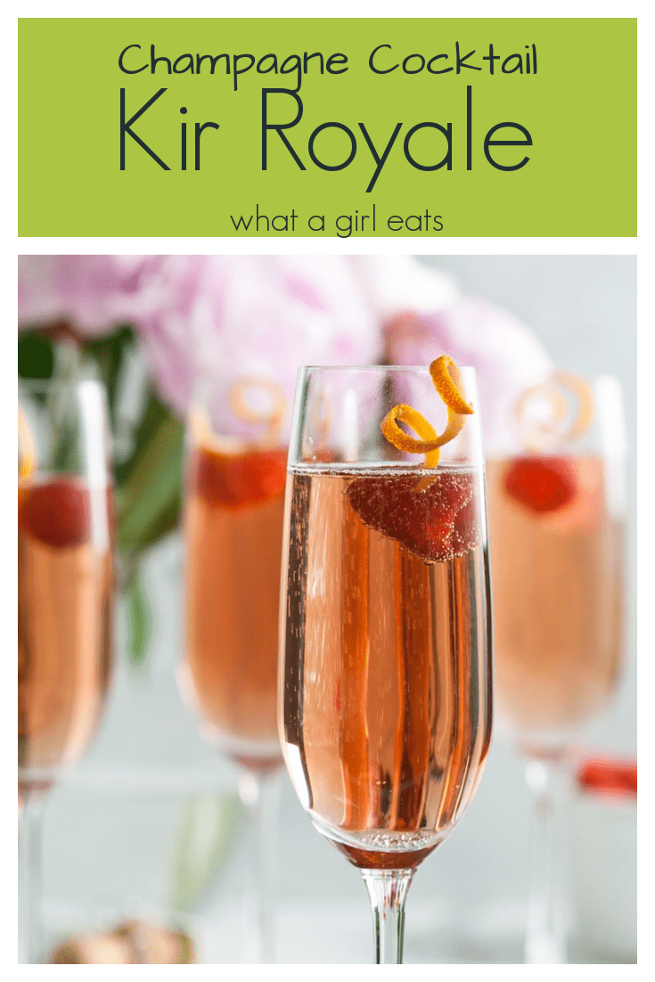 Kir royale is an elegant champagne cocktail that originated in the Dijon region of France. Creme de cassis is added to champagne for a delightful pale pink aperitif.