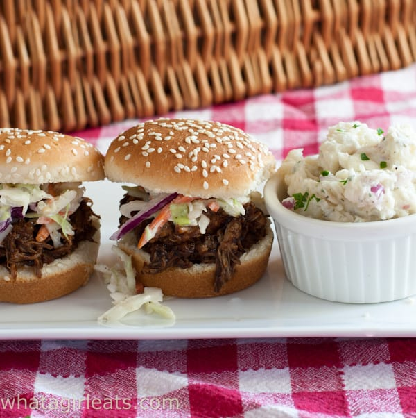 Pulled Pork Sliders with Western South Carolina-Style Barbecue Sauce. @whatagirleats.com