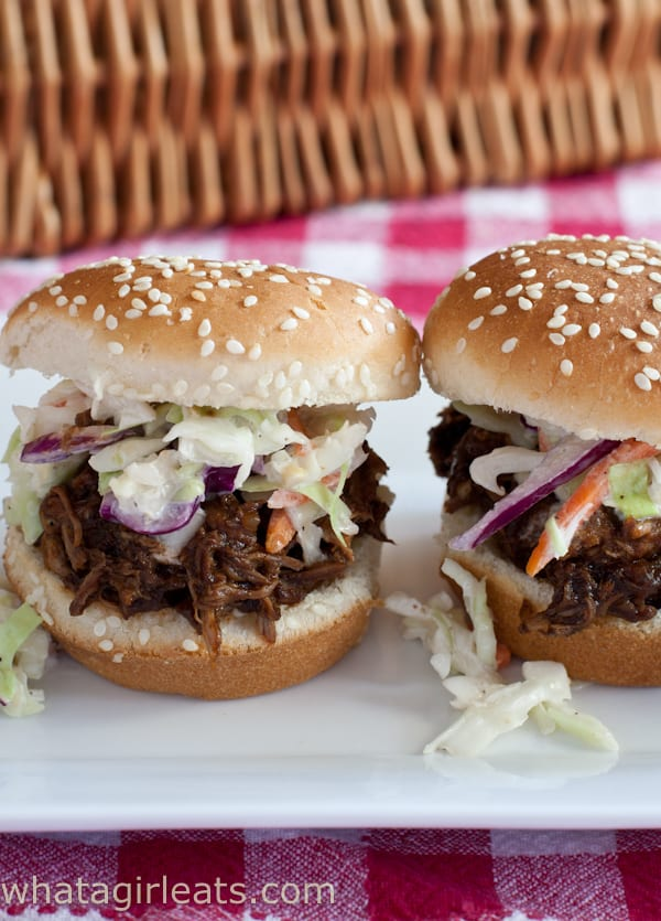 Slow Cooker Pulled Pork Sliders with Western South Carolina-Style Barbecue Sauce. @whatagirleats.com