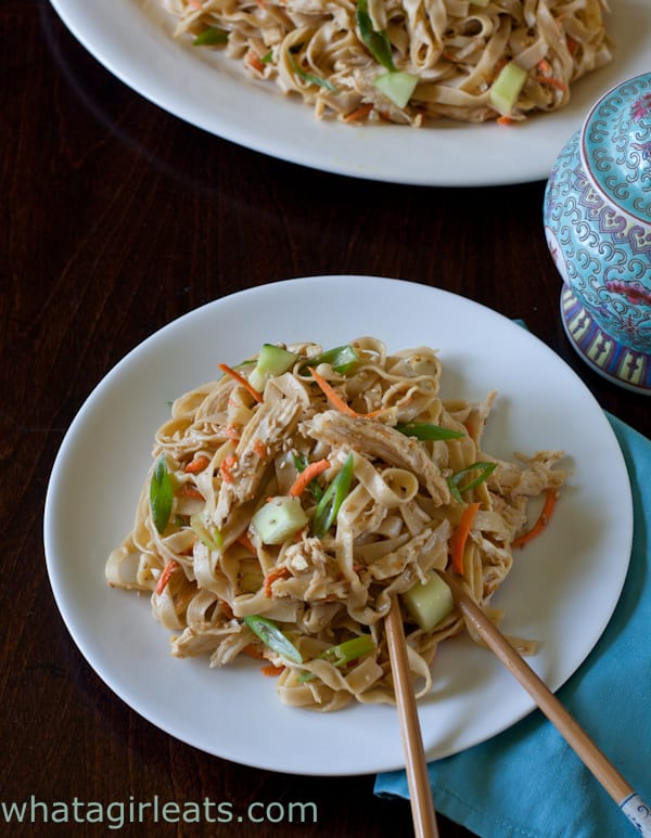 Cold sesame noodles with chicken and vegetables makes a delicious warm weather entree, and is perfect in a lunch box or for a picnic. Get the recipe from WhatAGirlEats.com