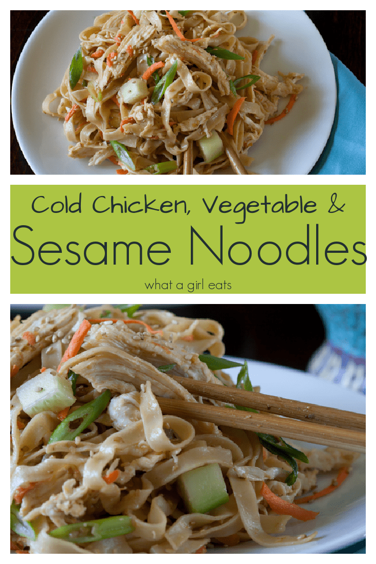 This cold sesame noodles dish with chicken and vegetables makes a delicious warm weather dish. Perfect in a lunch box or for a picnic.
