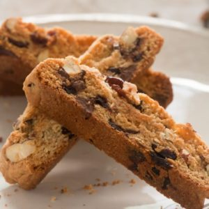 Cherry almond biscotti with chocolate chips, perfect for dunking! @whatagirleats .com