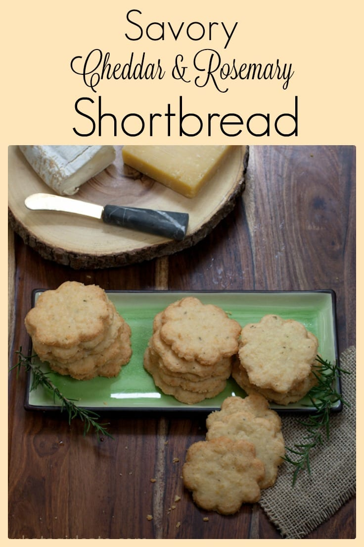 This savory shortbread is flavored with cheddar cheese and rosemary. It's the perfect addition to a cocktail party or appetizer board.