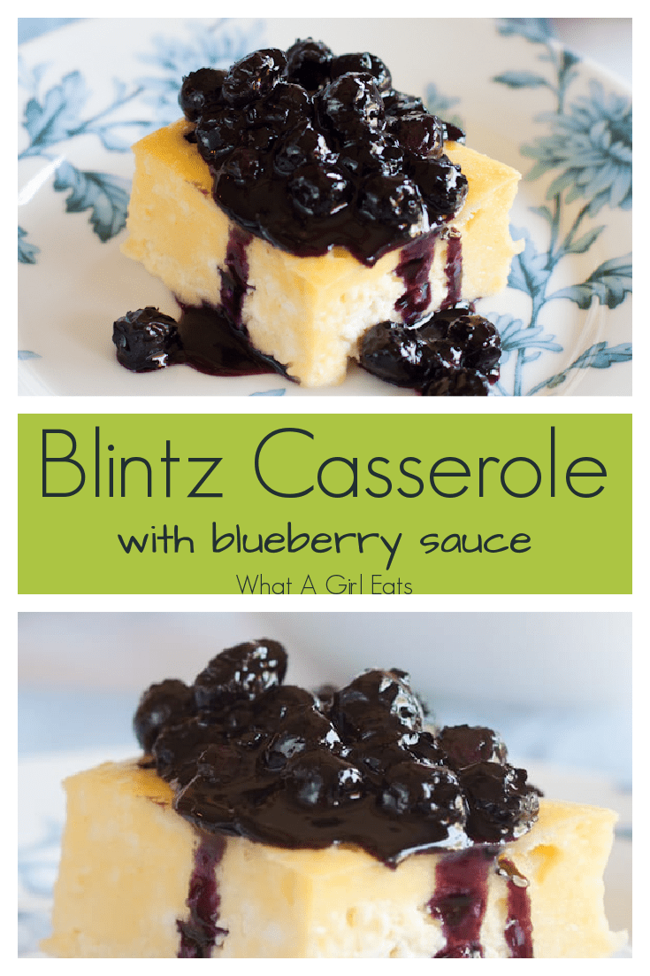 This rich and creamy blintz souffle casserole is perfect for breakfast or brunch. Make ahead the night before and bake while preparing the rest of your meal. Serve with warm blueberry sauce.