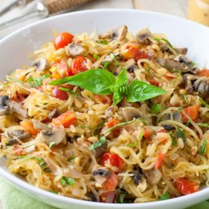 Whole30 Tomato Mushroom Spaghetti squash with basil. Vegan and gluten free!. Vegan and gluten free!
