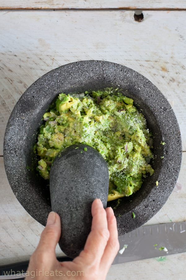 Just a squeeze of lime prevents the avocados from turning brown.