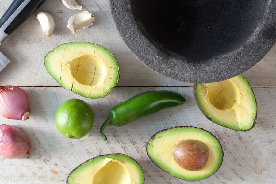 ingredients for Jalapeno Shallot Guacamole