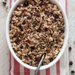 Cranberry pecan wild and brown rice makes a nice gluten free alternative to holiday stuffing.