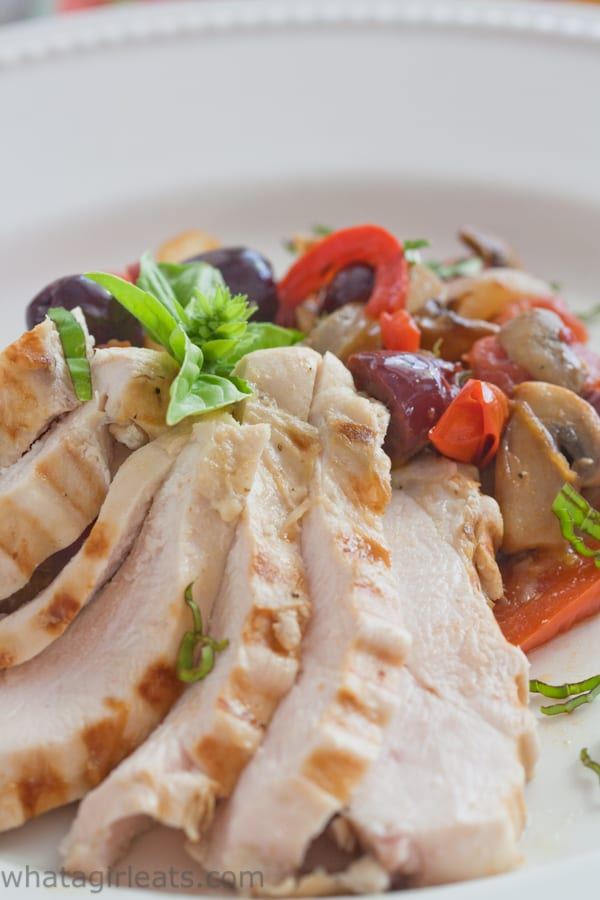 Mediterranean style vegetables are stir-fried for a quick and flavorful accompaniment to grilled chicken or beef. Whole30 compliant, paleo and gluten free.