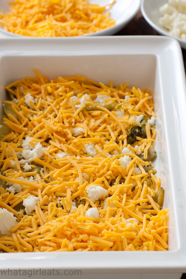 layers of cheese on chiles