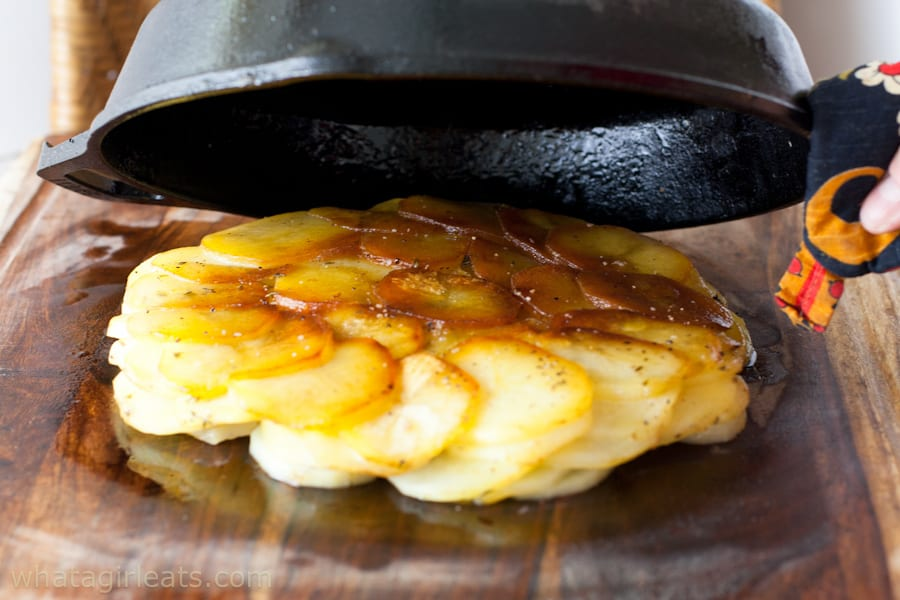 Cooked potatoes and cast iron